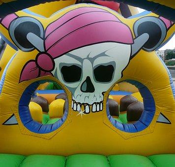 Bouncy Castle, Pirate, Air Cushion, Play, Pirate Ship