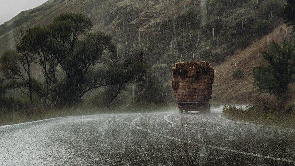 Tree, Rain, Road, Truck, Rick, Hail, Green, Nature