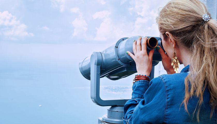 Girl, Sea, Binoculars, Vacation, Beach, Sky, Summer