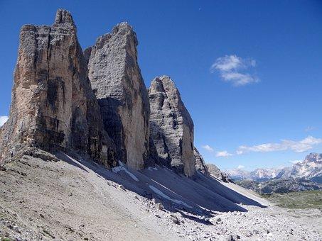 Three Zinnen, Alpine, Mountains, Italy, Dolomites, Rock