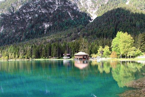 Alpine Lake, Water, Bergsee, Dolomites, Lake