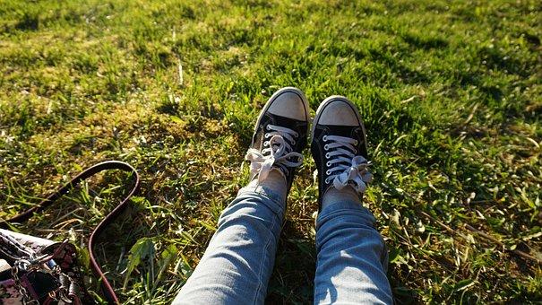Black, Converse, Converse All Star, Grass, Light