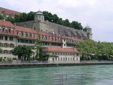 Bern, Federal Terrace, Aare, Water, City, Old Town