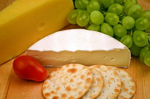 Camembert, Cheese, Grapes, Crackers, Food, Dairy