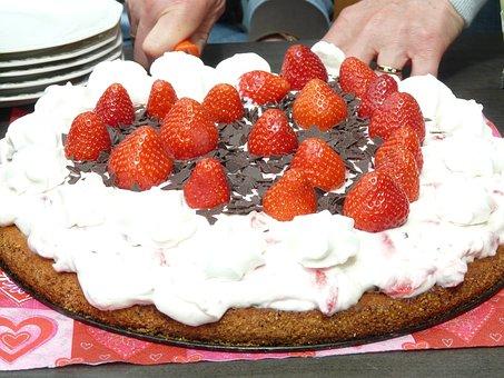 Cake, Cutting Of, Serve, Strawberry Pie, Strawberries