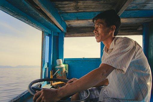 Man, Men, Boat, Fisherman, Driving, Summer, Fishing