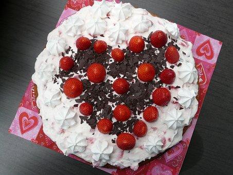 Cake, Heart, Favorite, Love, Strawberry Pie
