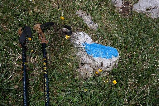 Hiking Poles, Signpost, Hiking, Hike, Waymarks