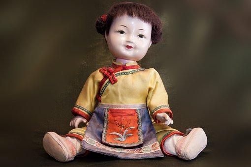 Doll, Japan, Japanese, Sitting, Old, Toys, Kimono