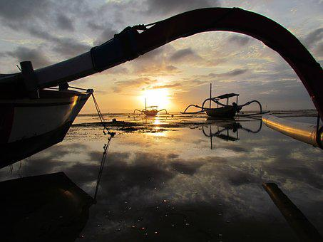Sanur, Landscape, Bali, Indonesia, Sun, Sunrise, Sea