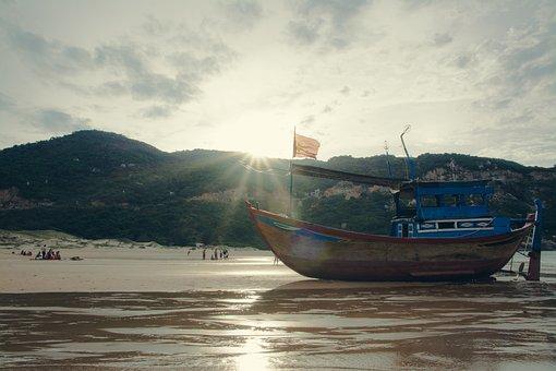 Boat, Sea, Ocean, Ray, Sunshine, Landscape, Travel