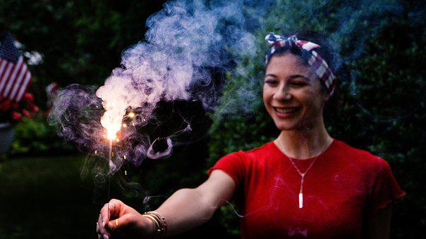 Light, Outdoors, Person, Smoke, Sparkler, Woman