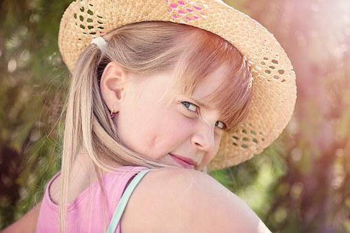 Person, Human, Child, Girl, Face, Blond, View, Hat