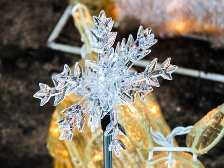 Snowflake, Crystal, Ice, Frozen, Artificial, Plastic