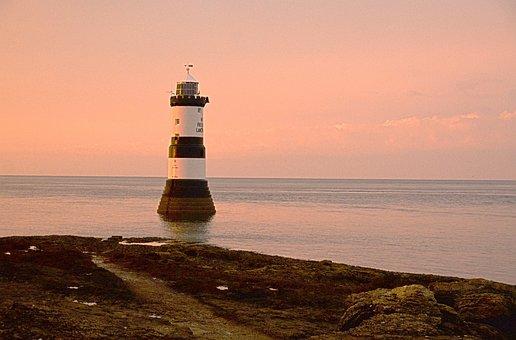 Anglesey, Penmon, Point, Lighthouse, Coast, Sea