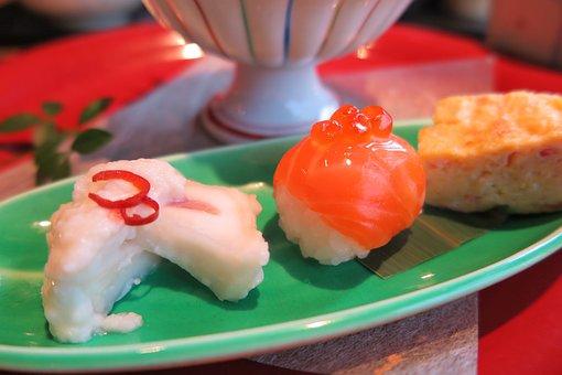 Sushi, Salmon, Salmon Roe, Egg Roll