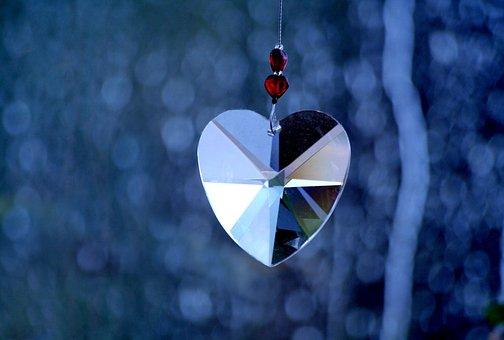 Crystal, Heart, Mirror, Shine, Prism, Bokeh, Blue, Grey