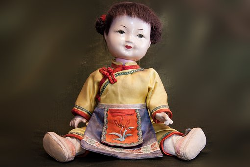 Doll, Japan, Japanese, Sitting, Old, Toys, Kimono