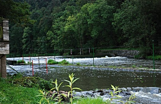 River, Camp, Lužnice, Slalom Course, Weir, Slalom Poles