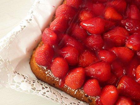 Strawberry Cake, Strawberries, Eat, Cake