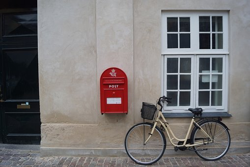 Postbox, Red, Box, Copenhagen, Wall, Street, Icon