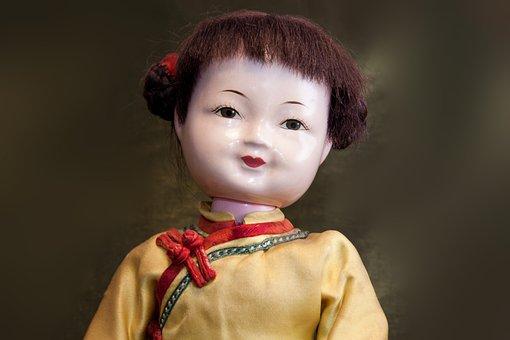 Doll, Japan, Japanese, Old, Toys, Face, Kimono, Yellow