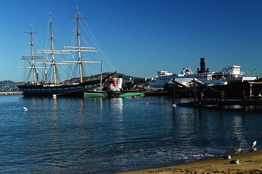 San Francisco, Boats, Bay Area, Paddle Steamer, Sea