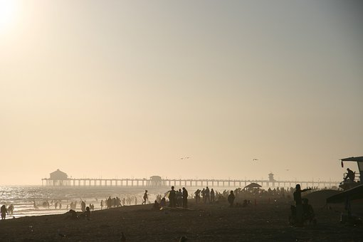 Beach, Pier, Ocean, Sea, Boardwalk, Silhouette, Holiday