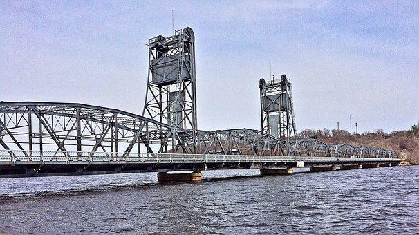 Bridge, River, Lift Bridge, Transportation