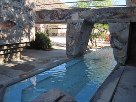Frank Lloyd Wright, Taliesin West, Building, Pond