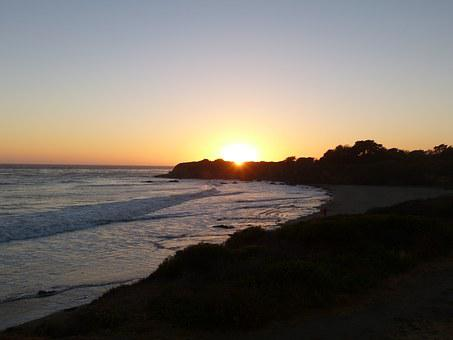 Sunset, Cambria, Beach, Nature, Coast, Pacific