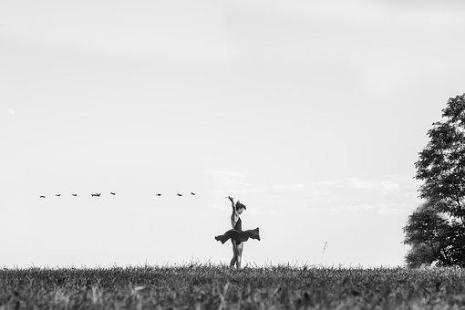 Dancer, Lady, Field, Carefree, Freedom, Dancing, Scene