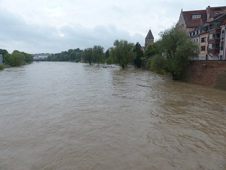 High Water, Danube, Ulm, Rainy Weather, Slurry, Rain
