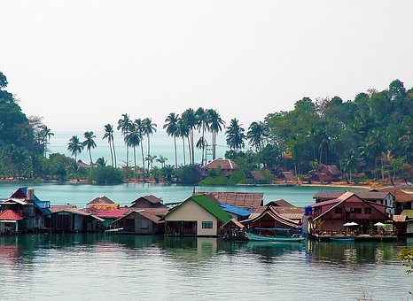 Houses, House, Building, Beach, Water, Trees, Thailand
