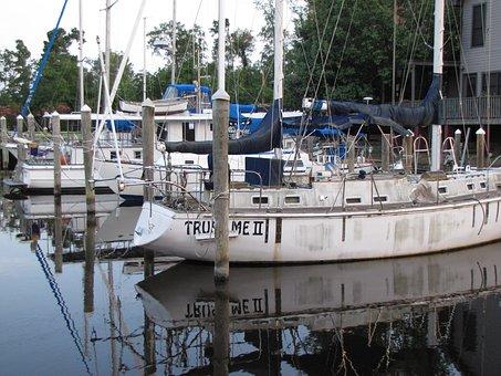 Boats, Docked, Sailboats, Marina, Slips, Marine