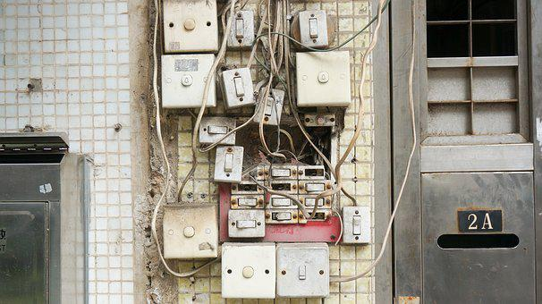 Broken, Dirty, Electrical Wires, Electricity, Outlet