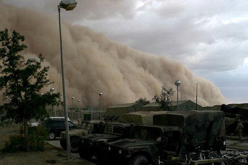 Sandstorm, Military Camp, Desert, Forward, Wind