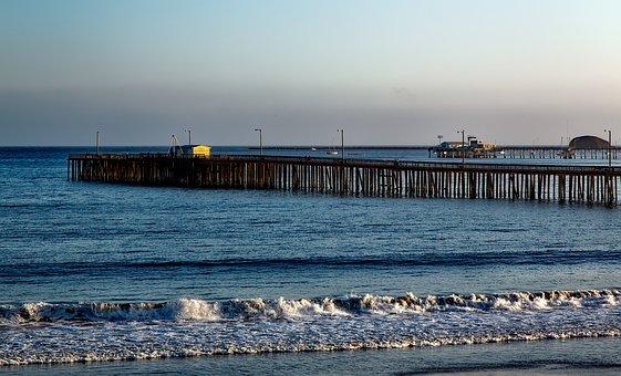 Santa Cruz, Pier, Structure, California, Water, Coast
