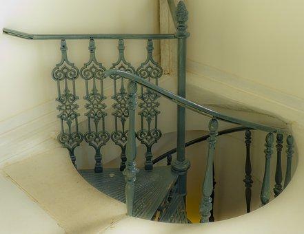 Stairway, Old, Interior, Vintage, Iron, Retro, Home