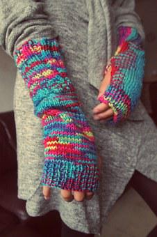Gloves, Fingers, Knitting, Winter, Wool, Mixed
