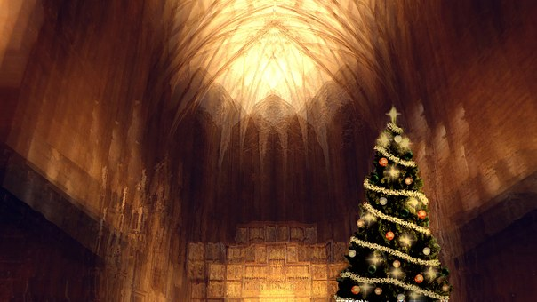 Church, Christmas, Atmosphere, Aisle, Fir Tree, Golden