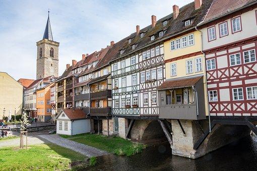 Erfurt, Chandler Bridge, Bridge, Spring, Gera
