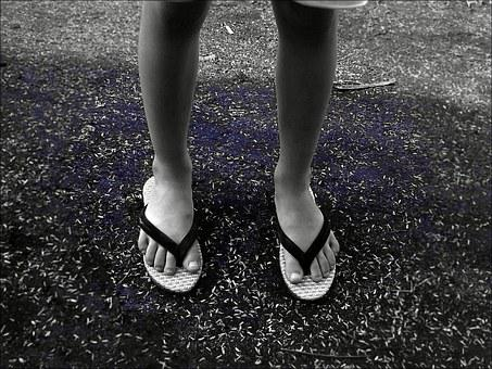 Child, Sandals, Flip Flops, Walk, Legs, Girl