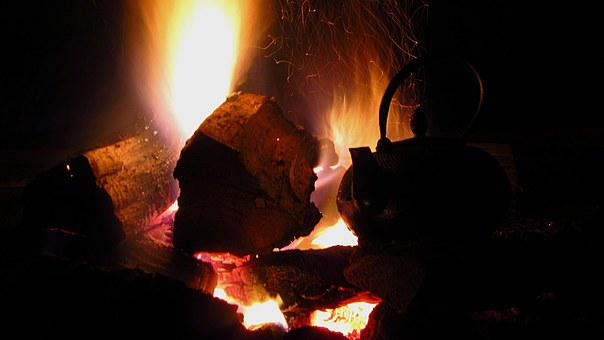 Jug, Ewer, Cooking, On, Fire, Tea, Camping