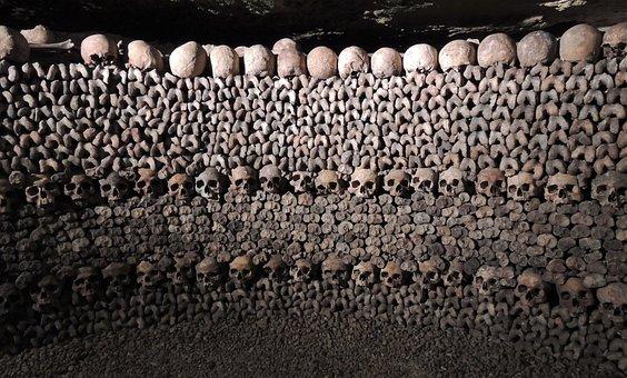 Skulls, Catacombs, Paris, Death, Bones, Skeleton