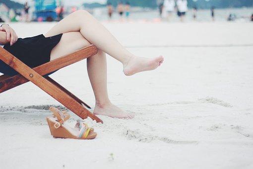 Woman, Beach, Beach Chair, Feet, Female, Barefoot, Girl