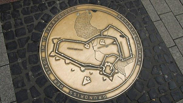Germany, German Map, Pavement, Europe, Gold, Coin
