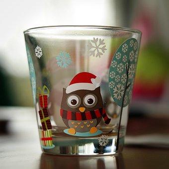 Glass, Drink, Child Glass, Owl, Winter, Drinking Glass