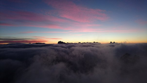 Sunrise, Clouds, South Tyrol, Hochpustertal, Dolomites