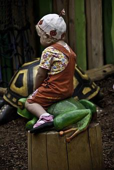 Child, Playground, Frog, Turtle, Childhood, Play, Kid